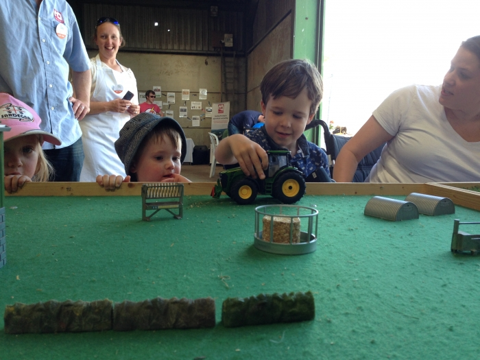 The remote control tractors were a hit with both children and adults alike at the Pocket Farming stand!