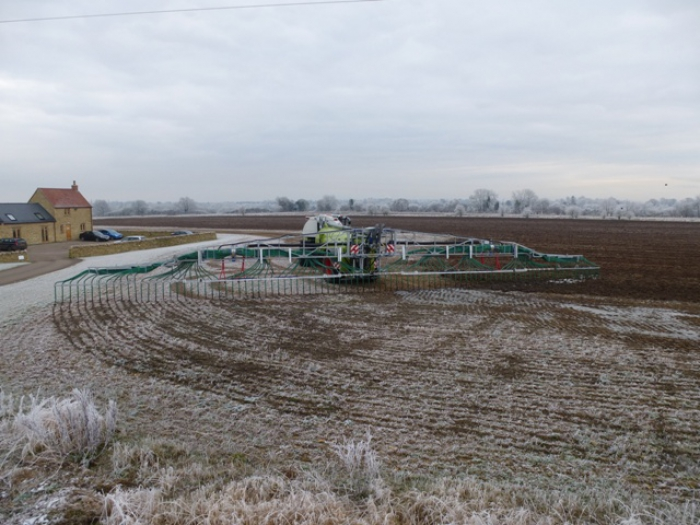 The 32m Vogelsang boom ensures the precise application of digestate