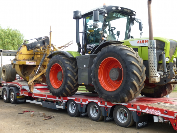 The Xerion and Rotary Ditcher are loaded onto the lorry and ready to be transported to Cheshire