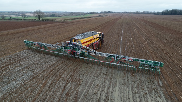 The Vredo 7028-3 self propelled slurry tanker with 36m Vogelsang dribble bar