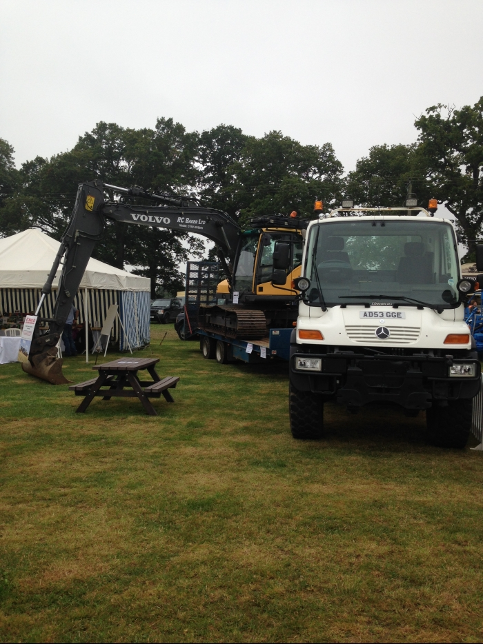 The Mercedes Unimog & Volvo Excavator on display