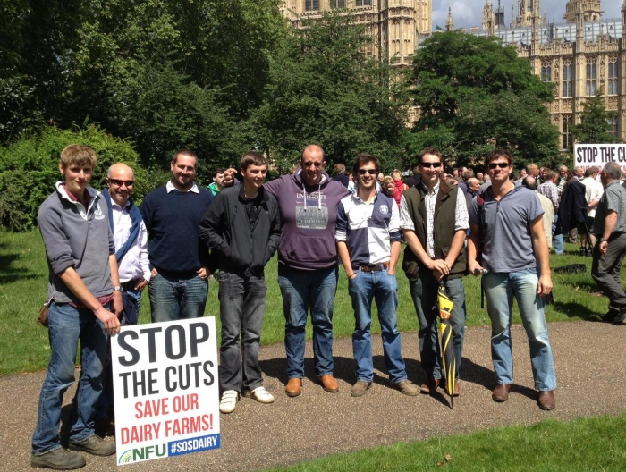 The boys showing their support outside Westminster at the Dairy Summit 13/07/2012